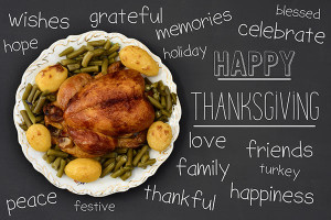 high-angle shot of a roast turkey on a round ceramic tray placed on a dark gray surface, the text happy thanksgiving written in it, and words related to this event such as peace, love or thankful