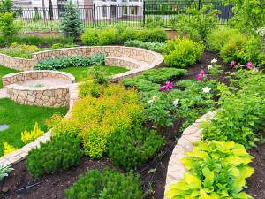 Natural flower landscaping in home garden